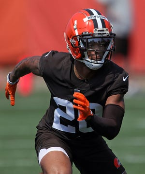 Browns rookie first-round pick Greg Newsome II has to be the favorite over Greedy Williams to land the starting cornerback spot opposite Denzel Ward. [Jeff Lange/Beacon Journal]