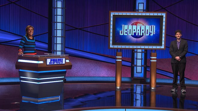 """Medina's Matt Amodio on the set of """"Jeopardy"""" with guest host Robin Roberts."""