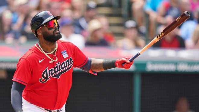 Cleveland's Franmil Reyes watches his solo home run in the third inning of a baseball game against the St. Louis Cardinals, Wednesday, July 28, 2021, in Cleveland. (AP Photo/Tony Dejak)