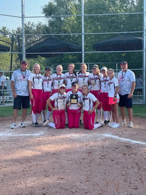 The Presque Isle Panthers 16-Under travel softball team poses with the trophy after winning the Alpena Thunderstruck tournament on Sunday, July 25. This year's team consisted of many area players, including rivals from the Ski Valley Conference.