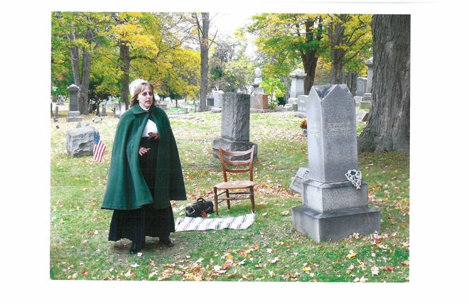Anita Gaston, of the Dearly Departed Players, brings history to life in Lakeview Cemetery.