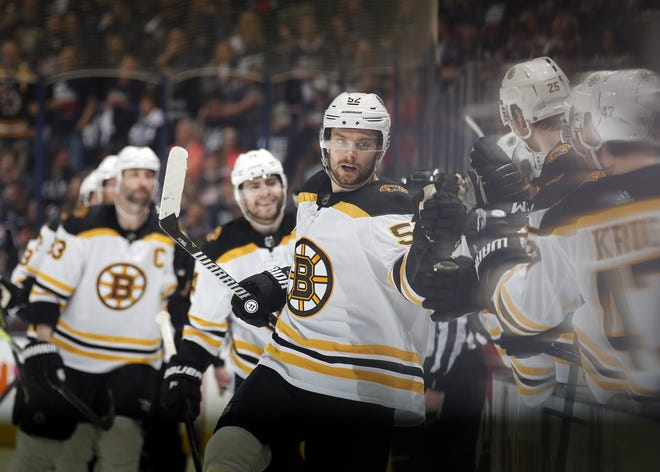 Sean Kuraly celebrates a goal against the Blue Jackets on May 2, 2019. The goal helped the Bruins win Game 4 of a second-round series in the 2019 Stanley Cup playoffs.