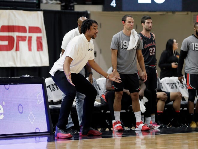 Carmen's Crew head coach Jared Sullinger looks for a call against The Money Team in the first quarter of their game during the Columbus Regional of the 2021 The Basketball Tournament at Covelli Center in Columbus, Ohio on July 27, 2021.