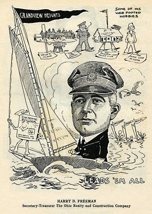 Cartoonist Billy Ireland created this caricature of Harry D. Freeman of Grandview, depicting him as a sailor on his catboat in reference to his association with the Buckeye Lake Yacht Club. He served as the Commodore of the club in 1912.