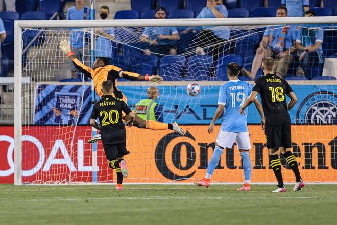 New York City FC goalkeeper Sean Johnson can't stop a game-winning shot by Crew midfielder Lucas Zelarayan on July 17.
