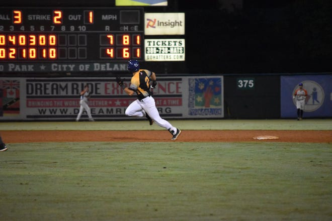 Leesburg's Robbie Scott races to third base after blasting a triple in the eighth inning of Tuesday's 7-5 win against DeLand in the FCSL playoffs at Conrad Park-Melching Field in DeLand. [COURTESY / CADI SCHWARTZ, LEESBURG LIGHTNING]
