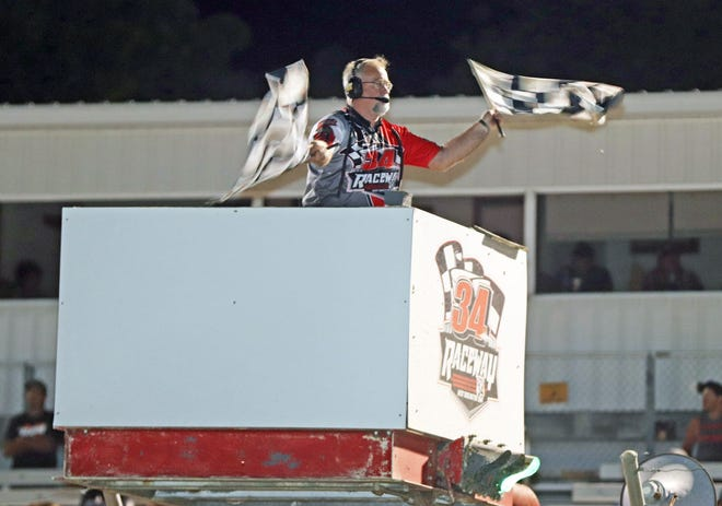 Burlington's Kenny Dixon has been working as flagman at 34 Raceway for most of the last 15 years and has been involved in various roles at the local dirt track for better than 30 years.