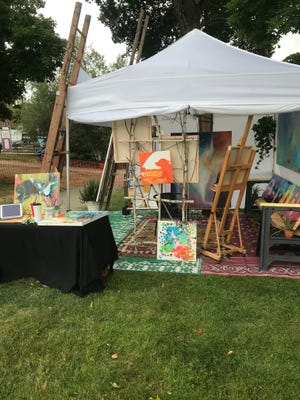 Pictured is an artist's booth from the 2020 Visual Arts Showcase. On Saturday, July 31, there will be over 25 artists displaying their works at upper Henry Law Park from 10 a.m. to 1 .pm.