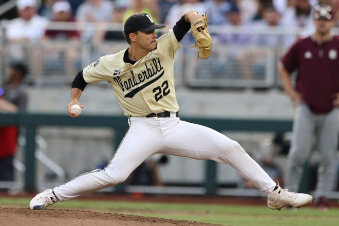 Vanderbilt pitcher Jack Leiter throws  during the fourth inning against Mississippi State in Game 1 of the NCAA College World Series baseball finals, on June 28 in Omaha, Neb.