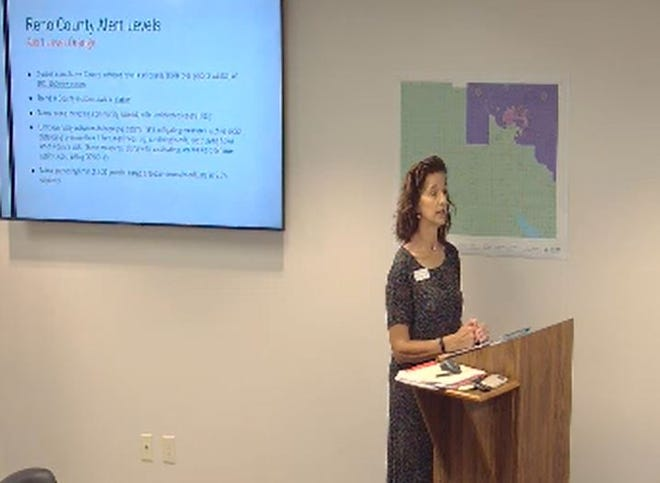 Reno County Health Department Director Karla Nichols addressed the Reno County Commission on July 27 about her agency's COVID-19 response and alert recommendations.
