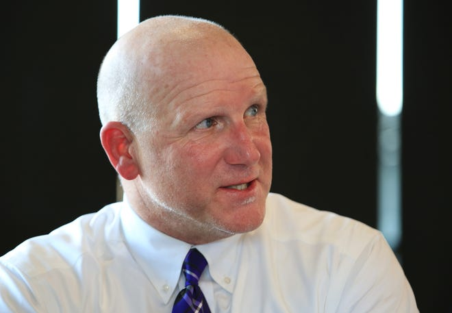 Butler Community College head football coach Tim Schaffner answers questions from the media during the 2021 KJCCC Media Day event at Riverfront Stadium Wednesday afternoon. Butler CC was predicted to finish in fourth place in the Jayhawk conference preseason poll.