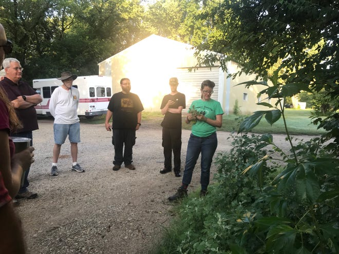 """Amanda Mayfield, (in green) Wichita, led a """"Forage Walk"""" on the Sand Creek Trail at Bethel College, pointing out medicinal and edible plants on the trail. The walk was sponsored by Healthy Harvey."""