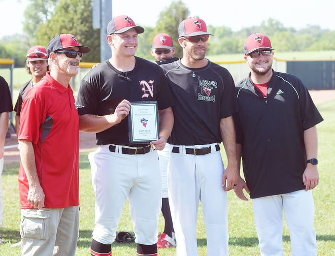 Newton Rebel pitcher Zach Gillig, surrounded by Rebels founder Carl Hodges, manager Brett Clark and coach Cole Sletzer, receives the Hodges Family Most Valuable Player Award for the 2021 season. Gillig was 1-0 this season with a 1.42 earned-run-average. Gillig had 62 strikeouts in 31.2 innings.
