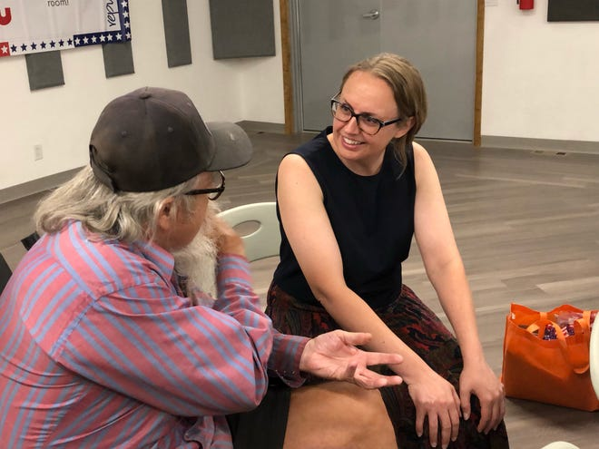 Colorado House District 47 Rep. Stephanie Luck visits with Ron Nesslage following her town hall event in Rocky Ford on July 27, 2021.