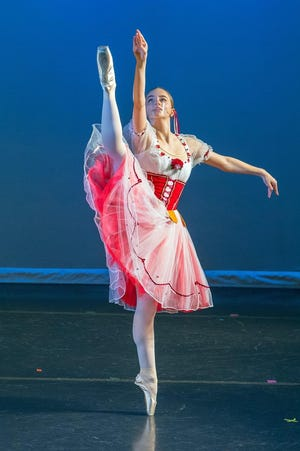 Photo by Kathleen Foulkrod  Erika Bressler performs during the Spring 2021 dance recital at the River Raisin Centre for the Arts.
