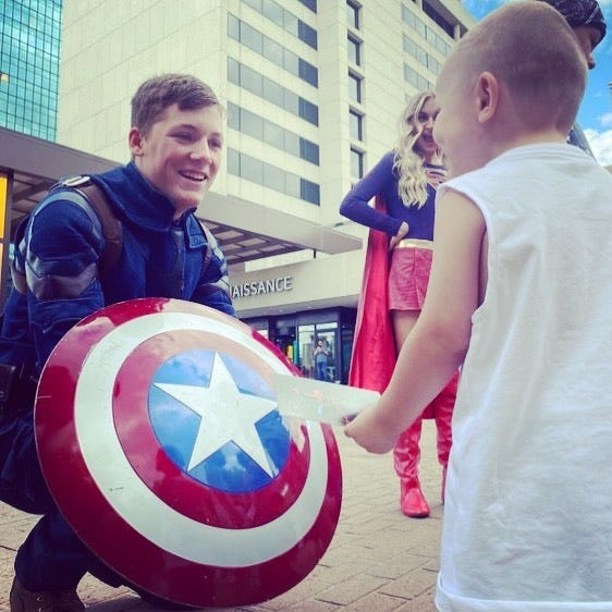 An actor from Laurel's Princess Parties portrays Captain America during a meet-and-greet event in Toledo, Ohio. The Star Spangled Man with a Plan, along with various other popular characters such as Anna and Elsa from the hit Disney film, Frozen, will be on hand throughout the week at the Monroe County Fair.