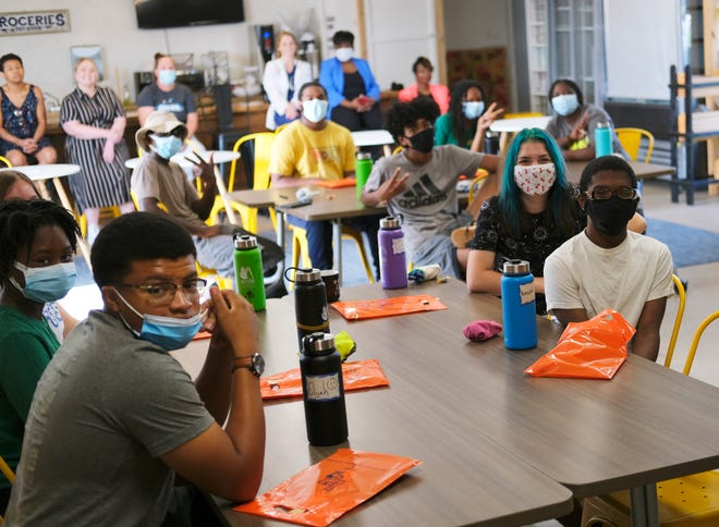 High school students working as summer interns at RestoreOKC participate in a career day event at the nonprofit's headquarters, 2222 NW 27.