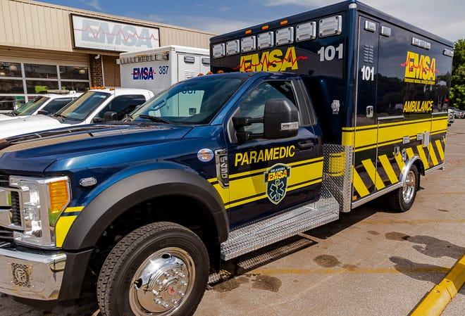 An EMSA ambulance at the EMSA headquarters in Oklahoma City, Okla. on Tuesday, July 2, 2019.   [Chris Landsberger/The Oklahoman]