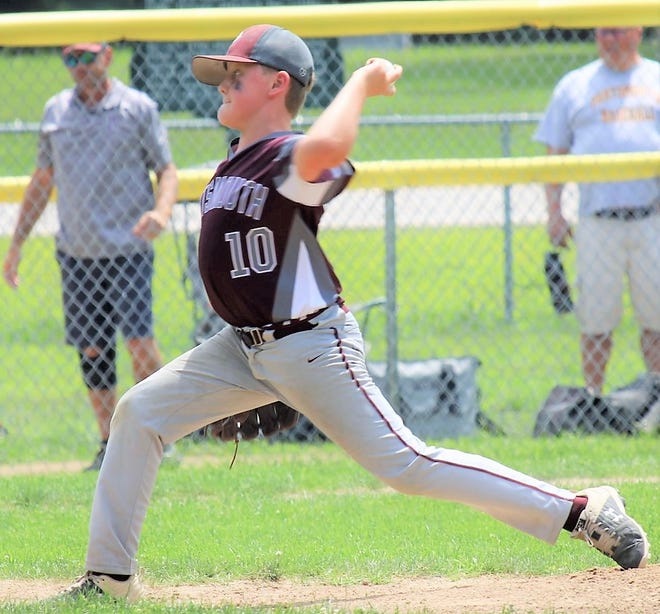 Portsmouth's Cam Stacy delivers a pitch for the Portsmouth Little League 9-10 all-star team during a game in last week's District II tournament. Portsmouth will play Salem in a best-of-3 series for the state championship, starting Saturday in Laconia.