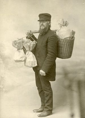 Charles Treadwell, c. 1897. Treadwell, a local farmer, specialized in market gardening – vegetables and fruits in season for local sale.