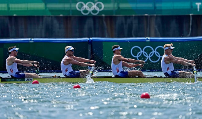 U.S. rowers Andrew Reed, Anders Weiss, Michael Grady and Clark Dean compete in the men's four final A on Wednesday during the Summer Olympics in Tokyo.