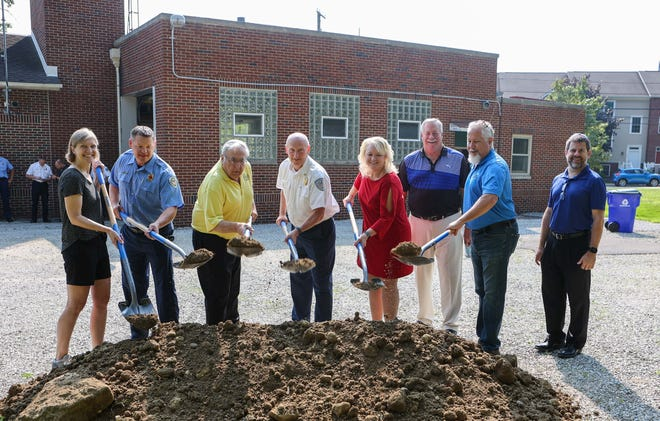 A groundbreaking ceremony was held Wednesday morning, July 28, for the upcoming renovations to the City of Kent's West Side Fire Station on N. Mantua Street. From L to R: Kent City Councilwoman Gwen Rosenberg; Kent FD Lt. Jamie Samels; City of Kent Mayor Jerry Fiala; Kent FD Chief John Tosko; Julie Brandle, President of Metis Construction; Architect Tedd Manfrass, T. Manfrass & Associates; Project Manager Rollin Gedney, Metis Construction; Architect Sean Thompson, T. Manfrass & Associates.