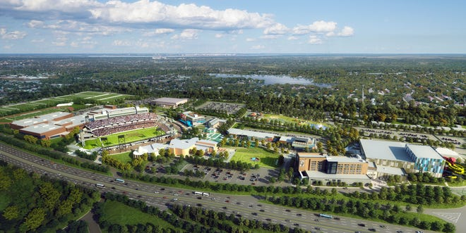 An artist rendering of the Hall of Fame Village powered by Johnson Controls.