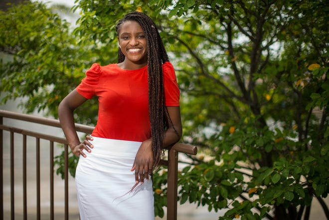 Gabrielle Sims, founder and executive director of Secondary Success and Beyond, poses for a portrait at Millennium Fountain Wednesday, July 28, 2021, in Rockford.