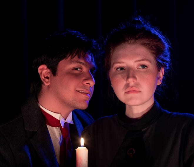 """Josue Escobar, left, and Sarah Johnson appear in Canterbury Summer Theatre's production of """"Dr. Jekyll and Mr. Hyde"""" that will run Aug. 5-7, 2021, at the theater in Michigan City."""