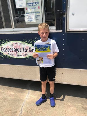 Jaxon wants to remind everyone his lemonade stand is open next Thursday, Aug. 5, from 11 a.m. to 3 p.m. at Casseroles To Go. He will have cookies, too. It's free, but any donations will go to Foster's Home for Children. If you have an office or business and would like to have yours delivered, Jaxon's dad will be helping with that.