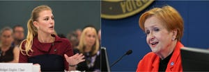 """Sarasota County School Board members Bridget Ziegler (left) and Jane Goodwin (right) butted heads Tuesday afternoon in a debate about parents recording special education meetings. Goodwin accused Ziegler of lobbying on behalf of special education advocates looking to sue the district, and Ziegler said Goodwin's position was """"a farce."""""""
