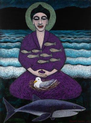"""Η Ελίζαμπεθ Ντάροου ζωγραφίζει """"Νιρβάνα"""" (Λάδι και παστέλ σε καμβά) είναι ένα από τα νέα έργα στην παράστασή της """"Ξεκινήστε με τα μάτια."""""""