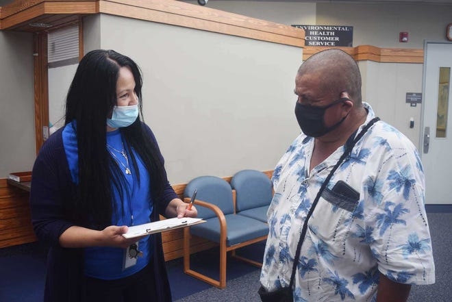 Lisett Colon was Guillermo Alonso's interpreter during a Tuesday visit to the Craven County Health Department.,