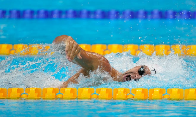 Michael Andrew (USA) in the men's 200-meter individual medley heats during the Tokyo 2020 Olympic Summer Games at Tokyo Aquatics Centre Wedneday morning. Mandatory Credit: Grace Hollars-USA TODAY Sports