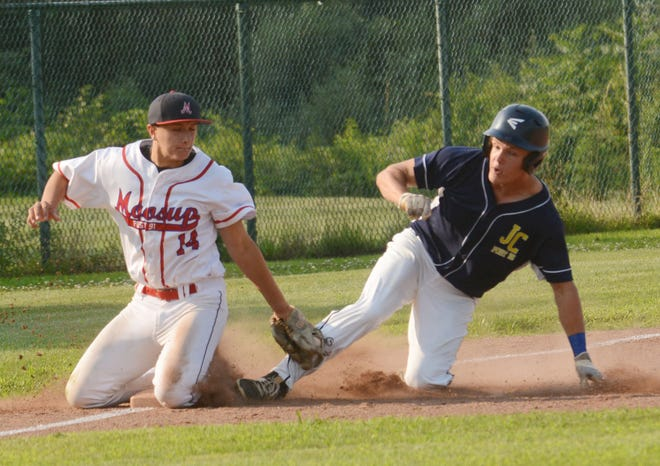 Jewett City's Andrew Cote is safe at third base as Moosup's Tyler Ezzell makes the late tag Tuesday during their American Legion game in Plainfield.