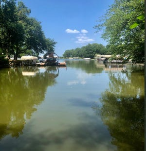 A small but unknown amount of raw sewage entered this cove Tuesday at the southeast corner of Lake Sherwood, a Shawnee County official said.