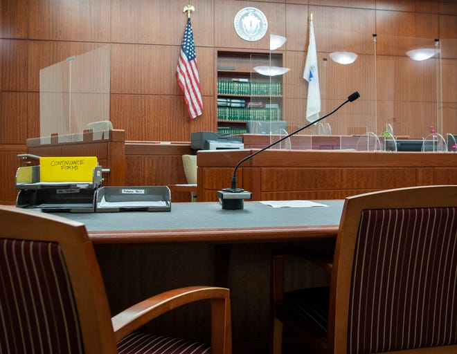 An empty juvenile court in Worcester on Wednesday.