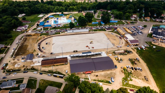 Construction continues hurriedly at Claymont High School before the start of the school year.