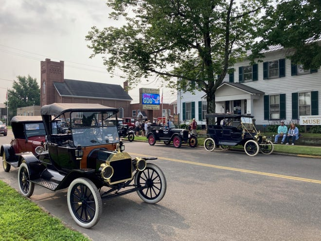 The Model T Ford Club International visited the Temperance Tavern Museum and the Olde Main Street Museum on Canal Street.