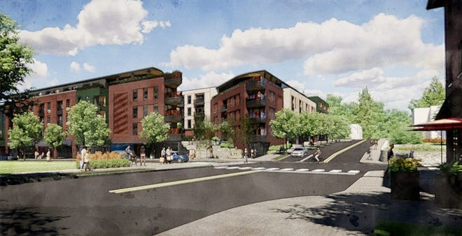 Renderings from the 101 Charlotte Street project website show conceptual plans of the proposed mixed-use development, seen at the corner of Chestnut and Charlotte streets.