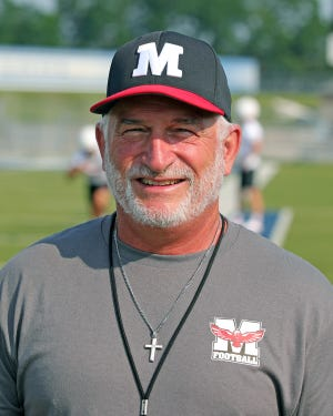Milford head coach Tom Grippa at the seven-on-seven practice between Milford and St. Xavier high schools at St. Xavier High School July 28, 2021.