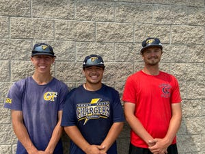 Pitcher Scotty Klinker (left) and infielder Mason Davis (center) were named to Montana-Alberta American Legion North A All-District team prior to winning the District Tournament last weekend. Also pitched in Chargers A manager AJ Griffith.
