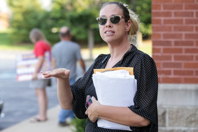 Trustee Jennifer Teising speaks to members of the media after a meeting of the Wabash Township board, Tuesday, July 27, 2021 in West Lafayette.
