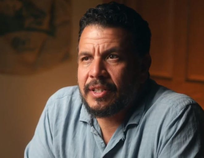 Albert Gonzales, in a still taken from a promotional video for public speaking engagements, filed as a candidate for the 2022 election for Kenosha County sheriff.