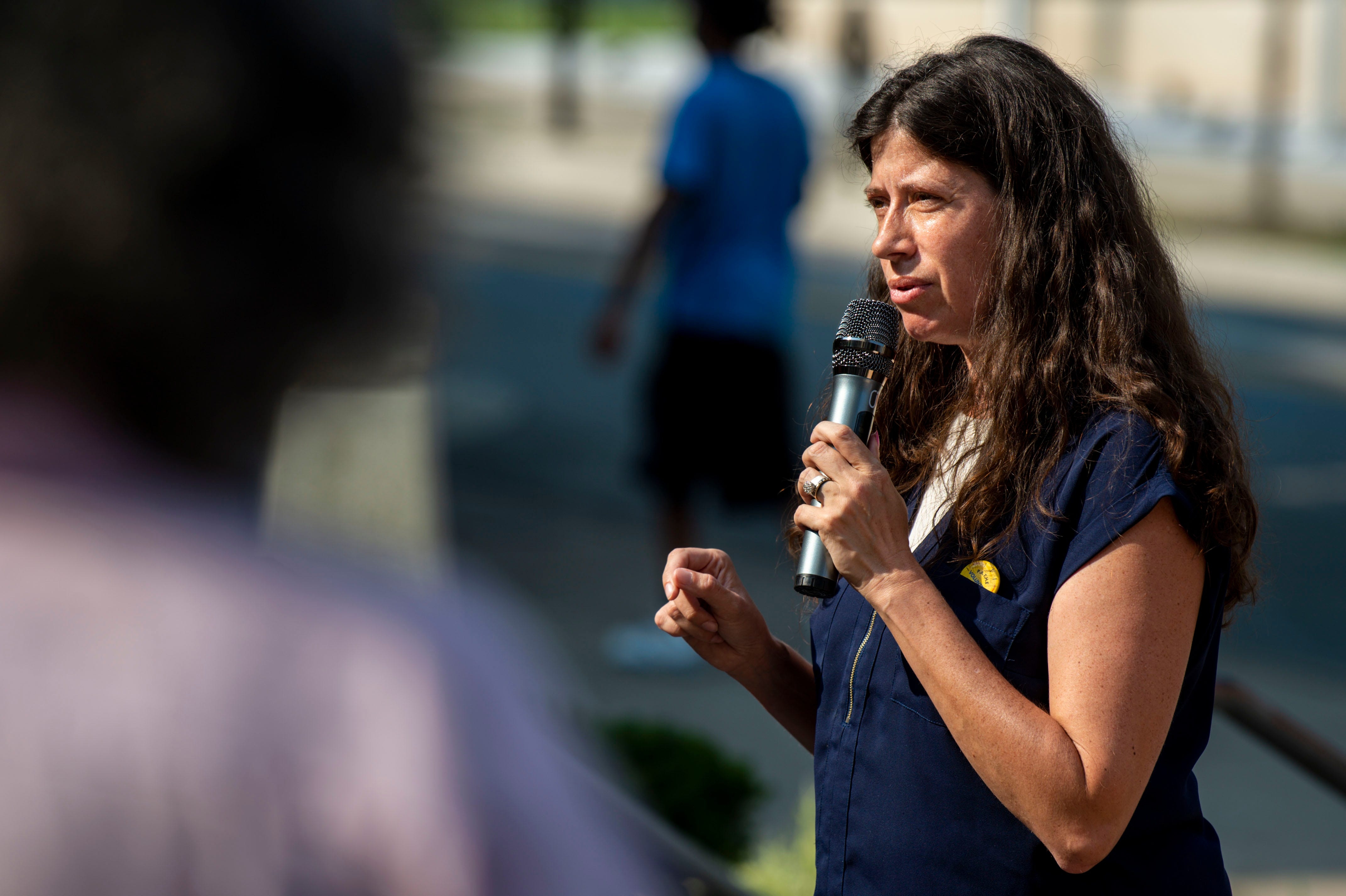 Melissa Cherry speaks during a press conference held by People's Alliance for Transit, Housing and Employment outside the Justice A. A. Birch Building in Nashville, Tenn., on Wednesday, July 28, 2021.