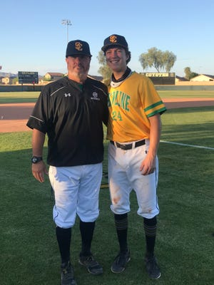 Pat Herrera, who coached his son Patrick (right) the past four years at Skyline, will be the new Desert Vista baseball coach, pending Tempe district governing board approval. Photo courtesy of Pat Herrera