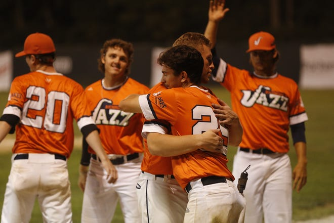 Richmond Jazz players say their goodbyes to one another after their 11-7 playoff loss to the Hamilton Joes on Tuesday, July 27, 2021.