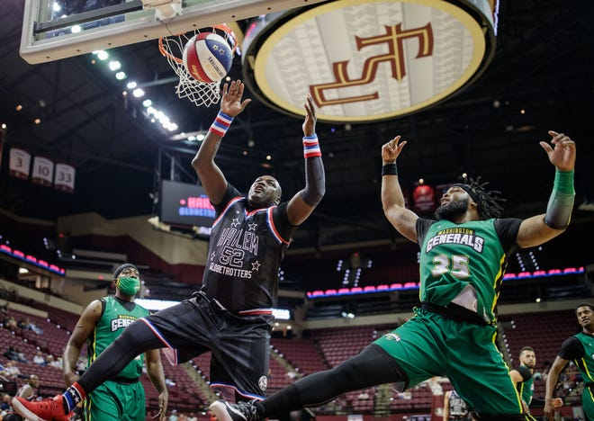 The Harlem Globetrotters entertained a crowd of a few hundred at the Tucker Civic Center Tuesday, July 27, 2021.