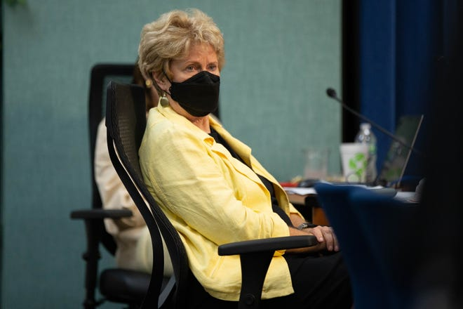 Leon County Schools School Board Member Rosanne Wood wears a mask while listening to public comments about the district's masking policy during a Leon County School Board meeting Tuesday, July 27, 2021.