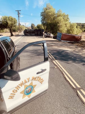 An overturned semitrailer forced the closure of Grimes Canyon Road in Moorpark Wednesday morning around 8 a.m.